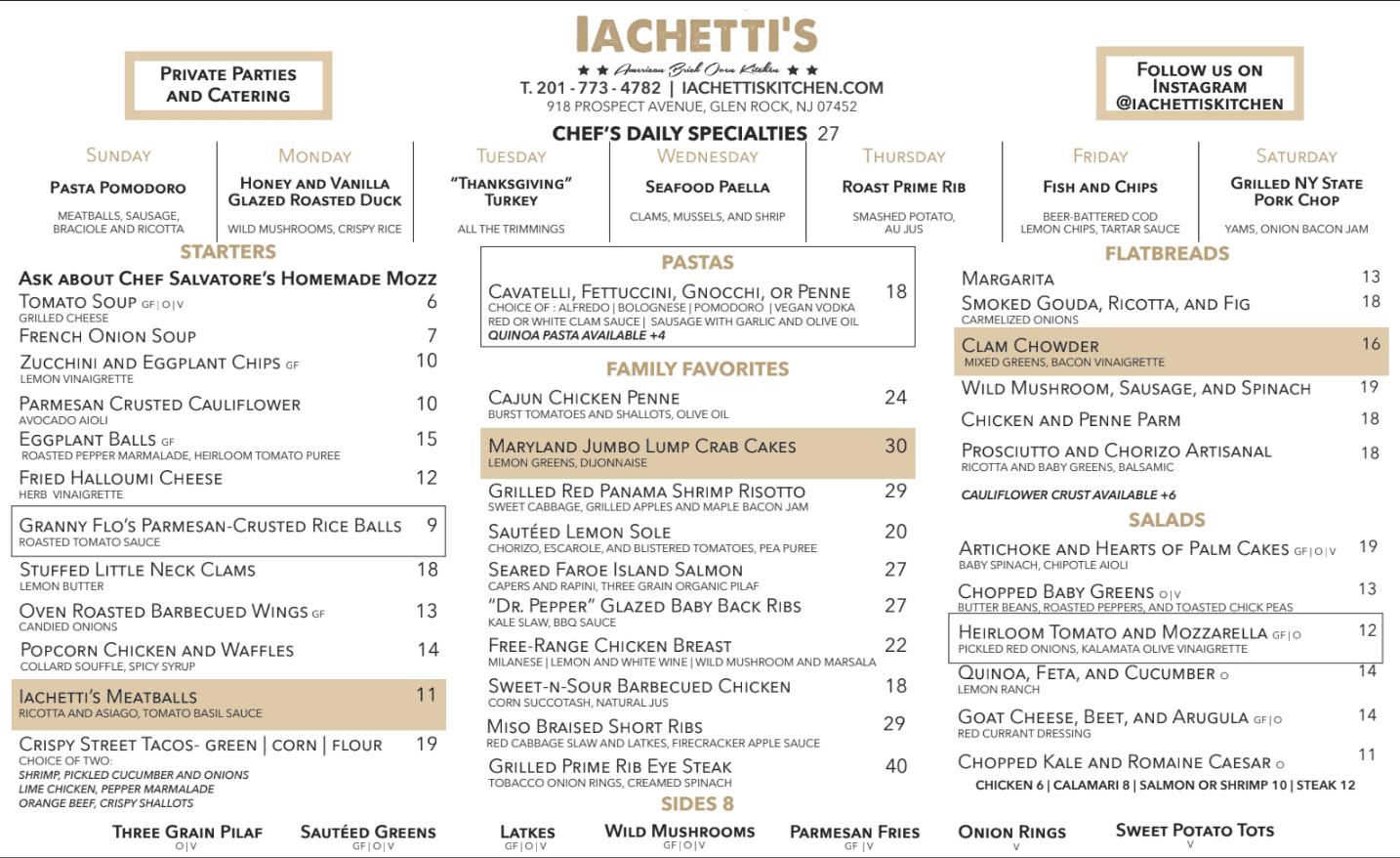 Menu Iachetti S Kitchen